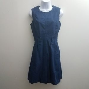 Victoria Beckham Sheath Dress 8 Blue Denim Flare